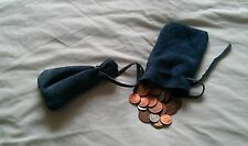 Medieval/Larp/SCA/Pagan/Reenactment Blue Leather DRAWSTRING MONEY POUCH/ BAG
