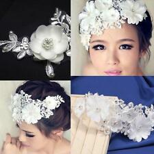 White Flower Crystal Pearl Beads Bridal Wedding Headpiece Hair Clip Tiara Gfit
