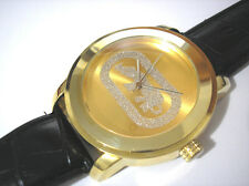 Iced Out Hip Hop Leather Band Goldtone Big Case Men's Watch Item 3493