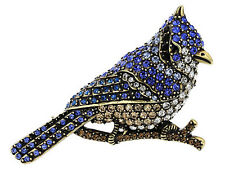 "2.5"" Long Perching Crystal Antiqued Gold Tone Blue Jay Swarovski Element Brooch"