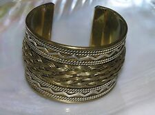 Estate Wide Made in India Brass with Center Braid Silvertone Swirls & Rope Lines
