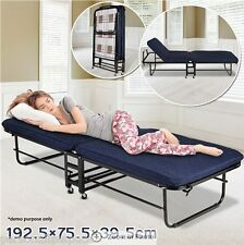 5.5cm Thick Mattress 180kg Folding Bed with Mattress and Adjustable Headrest