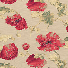 "Cotton 100% Slub weave Upholstery Curtain Fabric Antique Retro Floral Red 44""W"