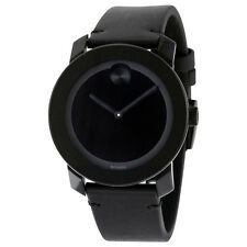 Movado Bold Black Museum Dial Black Leather Unisex Watch 3600306
