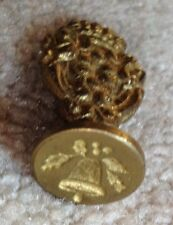 "Brass Wax Seal Stamp, 5/8"" diameter Made In Italy Vintage Christmas bell"