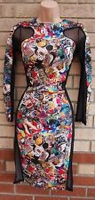 PARISIAN MULTI COLORED FUNKY SHOE ARD HEART LIP PRINT MESH SIDES TUBE DRESS 12 M