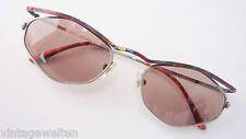 Pop Eyes Metall-Sonnenbrille Damen betonter bunter Oberrand GR:M antiksilber NEU