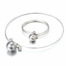 Silver Color Stainless Steel Fashion Women's Jewelry Set Necklace and Bangle