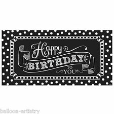 1.65m Classic Black & White Happy Birthday Party Giant Sign Banner Decoration
