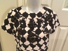 Neiman Marcus KARTA Black Beige Embellished Jeweled Dress NEW NWT small 4-6