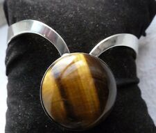 Finland sterling silver tigers eye bangle with makers marks