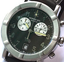 RAYMOND WEIL W1 CHRONOGRAPH STEEL BLACK WATCH 8000 (WITHOUT BAND)