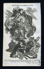 santino incisione 1700 litanie lauretane REGINA CONFESSORUM  klauber