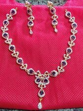 Blue ad Gold Plated ethnic Bollywood Bridal Indian jewelry neckless earring set