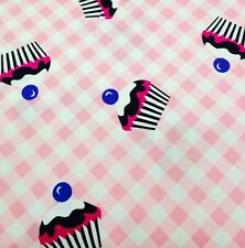 "100% Cotton Fabric 112cm/44"" Cupcakes On Pink, craft Quilting Dress Making"
