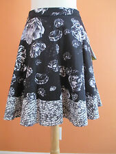 New Prabal Gurung for Target Size 14 Black & Gray Print Floral A Line Skirt