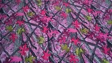 "LADIES SASSY B PINK CAMO COTTON POLY WATER REPELLENT TWILL FABRIC 60"" CAMOUFLAGE"