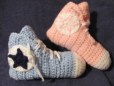 Crochet High Top Sneaker Slippers/Socks in Teen/Women Lt Pink or Blue - Handmade