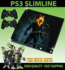 PLAYSTATION PS3 SLIM Adesivo GHOST RIDER JOHNNY BLAZE TESCHIO SKIN e 2 pad Pelle