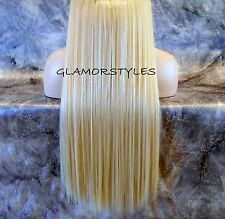 "20"" BLONDE FLIP IN SECRET CLEAR WIRE HUMAN HAIR PIECE  EXTENSIONS NO CLIP IN/ON"