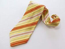 Italo Ferretti Silvi Marina 100% Silk Beige Striped Necktie Hand Made in Italy