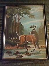 """Vintage Paint by Number/Deer in the Forest/17"""" by 13""""/Framed"""
