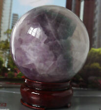 83MM +Stand Glow In The Dark Natural Purple Fluorite Magic Crystal Healing Ball