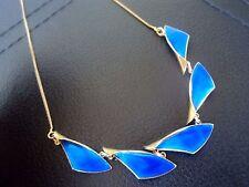 Norwegian Silver & Blue Enamel Necklace 1950s  Albert  Scharning  Norway
