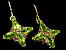 EP017 - STUNNING Solid 9ct Gold NATURAL Peridot & Pink Sapphire Earrings