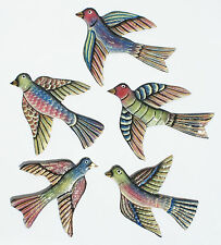 Set 5 Colored Metal Birds Gifts Fair Trade Home Decor Handmade Wall Art 7x6""