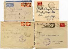 ITALY WW2 CENSORS 4 ENVELOPES to USA