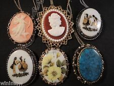 6 Vintage Cameo Quality Brooch Pendant Necklace Jewelry Victorian Lady head (N2)