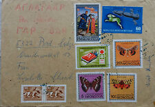 MONGOLIA 1973 EIGHT COLOUR FRANKING COMMERCIAL COVER WITH BUTTERFLY SPACE STAMPS