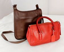 Lot of Authentic Vintage Coach Brown Leather Cross-body Handbag w/ Red Satchel