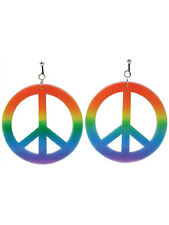 Rainbow Coloured Hippie Earrings Fancy Dress Accessory Hippy 60s 70s Peace Sign