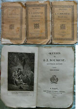 E/ OEUVRES DE ROUSSEAU -EMILE- 3/3 Tomes (Thomine et Fortic 1822-1823) GRAVURES