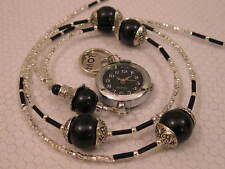 BEADED LANYARD  PEARL NECKLACE HANDMADE ID BADGE HOLDER BLACK
