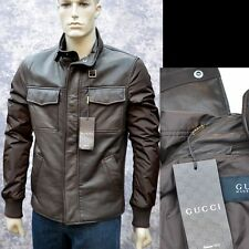 GUCCI New sz 58 - 48 Authentic Designer Leather Web Mens Coat Jacket brown $3500