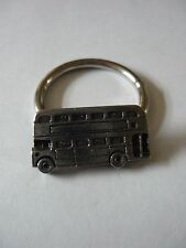 Double Decker Bus Emblem Made From Fine English Pewter on Scarf Ring w28