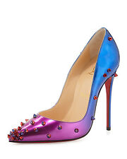 100% AUTH NEW WOMEN LOUBOUTIN DEGRASPIKE 120 OMBRE PATENT SPIKE PUMP/HEEL US 7