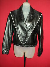 ~WILSONS Black White Trim Soft 100% Leather Military Jacket 10~