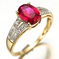 Percious Fashion Size 9 Halo Red Ruby 18K Gold Filled Women's Engagement Ring