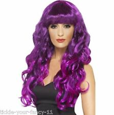 Womens Girls Purple Siren Wigs 80's Glamour Fancy Dress Outfit Wig Wonder Woman