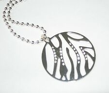 *New* silver plated tiger stripe crystal fashion pendant and necklace -RRP £15