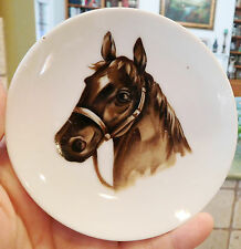 "3 horse head 4"" china dish COASTERS PLATES DISHES unbranded Equestrian Vintage"