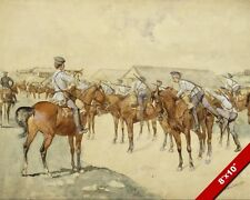 CALL TO ARMS US ARMY HORSE CAVALRY HISTORY OIL PAINTING ART PRINT ON REAL CANVAS