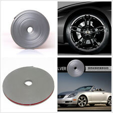 Car Wheel Hub Rim Edge Protector Ring Tape Sticker Rubber Moulding Silver Grey7M
