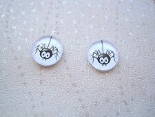 *DOMED GLASS HANGING SPIDER* Stud 12mm SP Earrings Black White Halloween