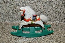 Midwest Importers WOODEN ROCKING HORSE ORNAMENTS Primitive Carved Christmas Deco