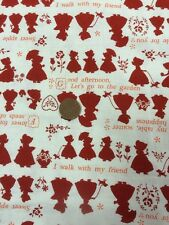 100% Cotton Quilt Craft Fabric By 1/2 Mtr Lecien Japan Holly Hobbie Red Cream